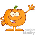 Royalty Free RF Clipart Illustration Funny Halloween Pumpkin Mascot Character Waving
