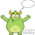 8930 Royalty Free RF Clipart Illustration Happy Horned Green Monster Cartoon Character With Welcoming Open Arms And Speech Bubble Vector Illustration Isolated On White vector clip art image