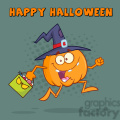 8899 Royalty Free RF Clipart Illustration Funny Witch Pumpkin Cartoon Character Running With A Halloween Candy Basket Vector Illustration Greeting Card vector clip art image