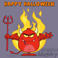 8966 Royalty Free RF Clipart Illustration Evil Red Devil Cartoon Character Character Holding A Pitchfork Over Flames Vector Illustration Greeting Card vector clip art image