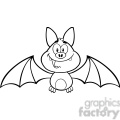 8942 Royalty Free RF Clipart Illustration Black And White Happy Vampire Bat Cartoon Character Flying Vector Illustration Isolated On White vector clip art image