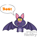 8945 Royalty Free RF Clipart Illustration Happy Vampire Bat Cartoon Character Flying With Speech Bubble And Text Vector Illustration Isolated On White vector clip art image