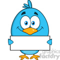 8825 Royalty Free RF Clipart Illustration Smiling Blue Bird Cartoon Character Holding A Blank Sign Vector Illustration Isolated On White