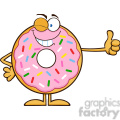 8675 Royalty Free RF Clipart Illustration Winking Donut Cartoon Character With Sprinkles Giving A Thumb Up Vector Illustration Isolated On White