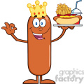 8492 Royalty Free RF Clipart Illustration King Sausage Cartoon Character Carrying A Hot Dog, French Fries And Cola Vector Illustration Isolated On White