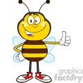 8382 royalty free rf clipart illustration smiling bee cartoon mascot character showing thumb up vector illustration isolated on white gif, png, jpg, eps, svg, pdf