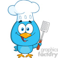 8819 Royalty Free RF Clipart Illustration Chef Blue Bird Cartoon Character Holding A Slotted Spatula Vector Illustration Isolated On White
