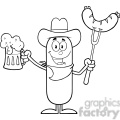 8441 Royalty Free RF Clipart Illustration Black And White Cowboy Sausage Cartoon Character Holding A Beer And Weenie On A Fork Vector Illustration Isolated On White