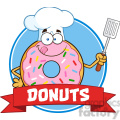 8672 Royalty Free RF Clipart Illustration Chef Donut Cartoon Character With Sprinkles Circle Label Vector Illustration Isolated On White