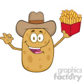 8798 Royalty Free RF Clipart Illustration Cowboy Potato Character Gesturing Ok And Holding A French Fries Vector Illustration Isolated On White