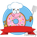 8671 Royalty Free RF Clipart Illustration Chef Donut Cartoon Character With Sprinkles Circle Label Vector Illustration Isolated On White