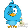 8833 Royalty Free RF Clipart Illustration Winking Blue Bird Cartoon Character Holding A Bag Of Money Vector Illustration Isolated On White