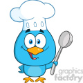 8820 Royalty Free RF Clipart Illustration Chef Blue Bird Cartoon Character Holding A Spoon Vector Illustration Isolated On White