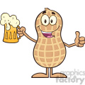 8634 Royalty Free RF Clipart Illustration Happy Peanut Cartoon Character Holding A Beer And Thumb Up Vector Illustration Isolated On White