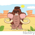 8752 Royalty Free RF Clipart Illustration Mammoth Cartoon Character Vector Illustration With Background