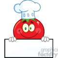 8389 Royalty Free RF Clipart Illustration Tomato Chef Cartoon Mascot Character Over A Blank Sign Vector Illustration Isolated On White