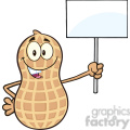 8741 Royalty Free RF Clipart Illustration Peanut Cartoon Mascot Character Holding Up A Blank Sign Vector Illustration Isolated On White