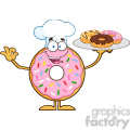 8682 Royalty Free RF Clipart Illustration Chef Donut Cartoon Character Serving Donuts Vector Illustration Isolated On White