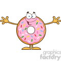 8677 Royalty Free RF Clipart Illustration Funny Donut Cartoon Character With Sprinkles Wanting A Hug Vector Illustration Isolated On White