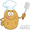 8791 Royalty Free RF Clipart Illustration Chef Potato Character Licking His Lips And Holding A Spatula Vector Illustration Isolated On White