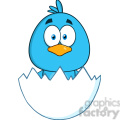 8807 Royalty Free RF Clipart Illustration Surprised Blue Bird Cartoon Character Hatching From An Egg Vector Illustration Isolated On White