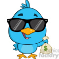 8845 Royalty Free RF Clipart Illustration Cute Blue Bird With Sunglasses Cartoon Character Holding A Bag Of Money Vector Illustration Isolated On White