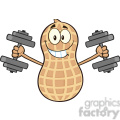8732 Royalty Free RF Clipart Illustration Smiling Peanut Cartoon Mascot Character Training With Dumbbells Vector Illustration Isolated On White