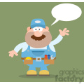 8530 Royalty Free RF Clipart Illustration Mechanic Cartoon Character Waving For Greeting Flat Style Vector Illustration With Speech Bubble And Background