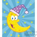 6973 Royalty Free RF Clipart Illustration Smiling Crescent Moon Over Blue Sky With Stars