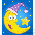 royalty free rf clipart illustration smiling crescent moon with sleeping hat and happy litlle star cartoon characters gif, png, jpg, eps, svg, pdf