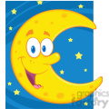 Royalty Free RF Clipart Illustration Smiling Crescent Moon Over Blue Sky With Stars