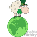 Royalty Free RF Clipart Illustration Irish Sheep Carrying A Clover In Its Mouth On A Globe