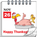 8969 Royalty Free RF Clipart Illustration Cartoon Calendar Page With Smiling Turkey Bird In The Saucepan Giving A Thumb Up Vector Illustration vector clip art image