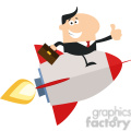 8337 Royalty Free RF Clipart Illustration Manager Flying On The Rocket And Giving Thumb Up Flat Style Vector Illustration