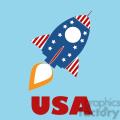 8316 Royalty Free RF Clipart Illustration Retro Rocket With USA Flag Concept Vector Illustration With Text