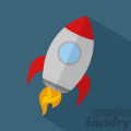 8302 Royalty Free RF Clipart Illustration Rocket Ship Start Up Concept Flat Style Vector Illustration