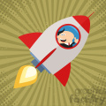 8330 Royalty Free RF Clipart Illustration Manager Launching A Rocket And Giving Thumb Up Flat Style Vector Illustration