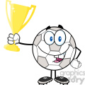 royalty free rf clipart illustration happy soccer ball cartoon character holding golden trophy cup  gif, png, jpg, eps, svg, pdf
