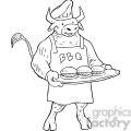 bull cooking bbq vector RF clip art images
