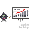 greedy petroleum or oil drop cartoon character with dollar eyes pointing to a growth graph for oil prices vector illustration isolated on white background