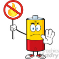 royalty free rf clipart illustration angry battery cartoon mascot character holding a no fire sign vector illustration isolated on white 01