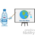 9387 water plastic bottle cartoon mascot character using a pointer stick by a board with earth globe with water faucet and drop vector illustration isolated on white