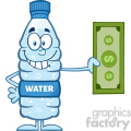 royalty free rf clipart illustration smiling water plastic bottle cartoon mascot character holding a dollar bill vector illustration isolated on white