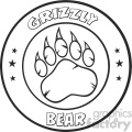 royalty free rf clipart illustration black and white bear paw with claws circle logo design vector illustration isolated on white background