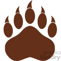 9223 royalty free rf clipart illustration brown bear paw with claws vector illustration isolated on white