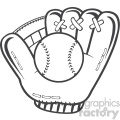 royalty free rf clipart illustration black and white baseball glove and ball vector illustration isolated on white background