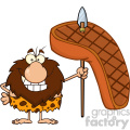 9917 smiling male caveman cartoon mascot character holding a spear with big grilled steak vector illustration gif, png, jpg, eps, svg, pdf