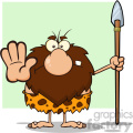 angry male caveman cartoon mascot character gesturing and standing with a spear vector illustration
