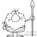 black and white angry male caveman cartoon mascot character standing with a spear vector illustration gif, png, jpg, eps, svg, pdf
