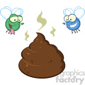 royalty free rf clipart illustration two flies hovering over pile of smelly poop cartoon characters vector illustration isolated on white backgrond
